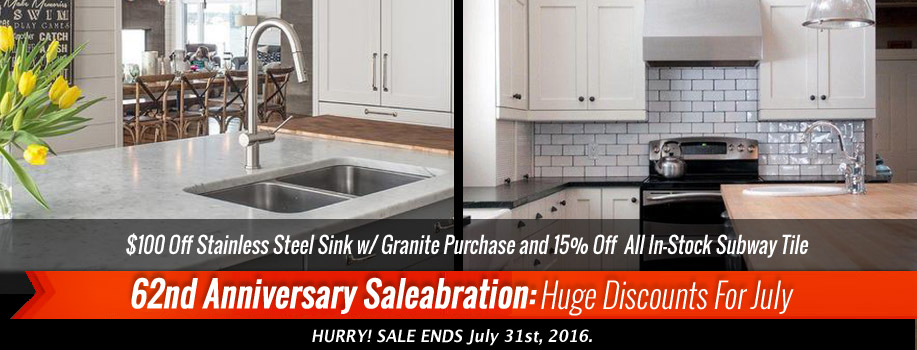 $100 Off Stainless Steel Sink w/ Granite Purchase and 15% Off  All In-Stock Subway Tile